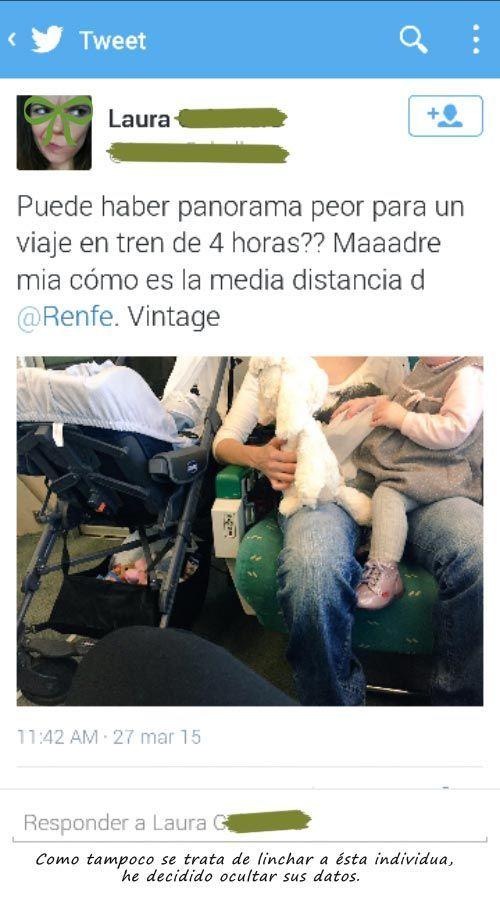 tuit ofensivo lanzado por una pasajera de tren