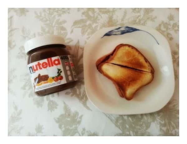 Sandwiches calientes de Nutella