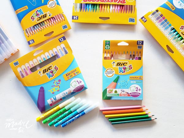 lápices de colores triangulares y rotuladores bic kids baby