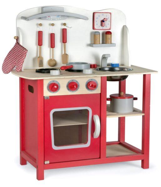 cocinita de madera roja