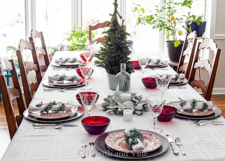 decoración mesas navidad roja