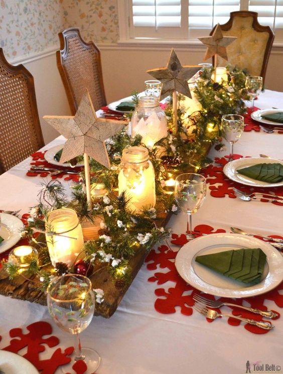 decoración mesas navidad roja y verde