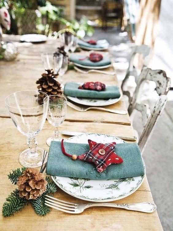 decoración mesas navidad turquesa