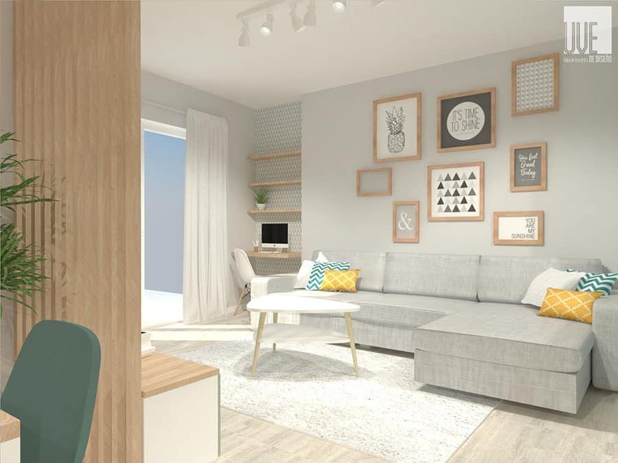 interiorismo e infografía del salón por Uvelab