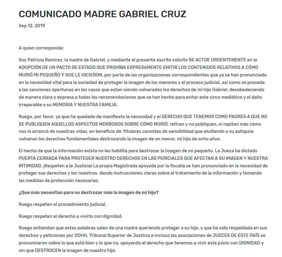 Comunicado de la madre de Gabriel Ruiz