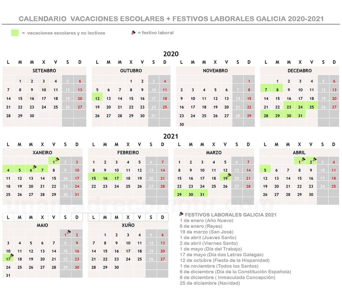 Calendario Vacaciones Escolares Festivos Laborales Galicia 2020 2021 Una Madre Como Tú