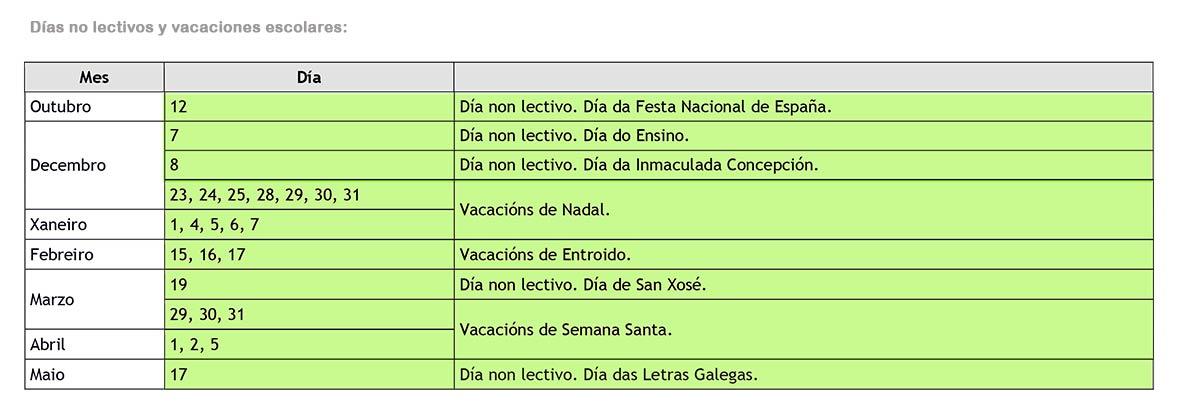 vacaciones escolares Galicia 2020-2021